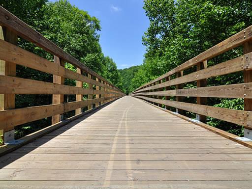 wooden trestle bridge on Virginia creeper
