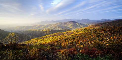 Overlook at Blue Ridge Mountains under blue sky