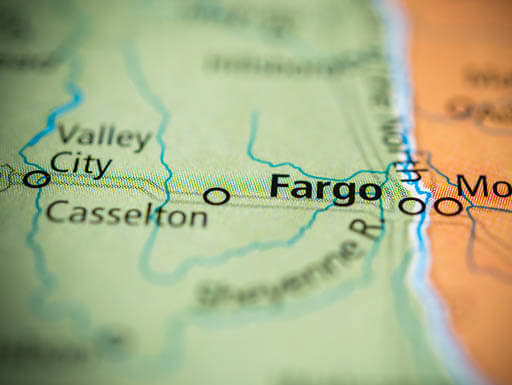 US Map showing the road to Fargo, North Dakota
