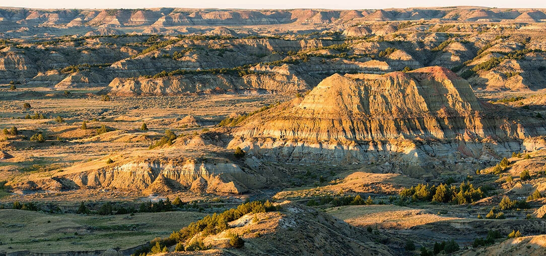Sunrise over the Painted Canyon Overlook in Medora, North Dakota