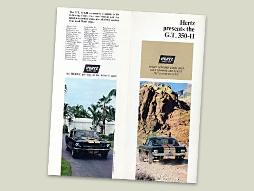 A Hertz ad from 1966 shows two images of the Shelby Mustang GT 350-H, one with the car driving on a road, and one with the car off-roading in the desert.