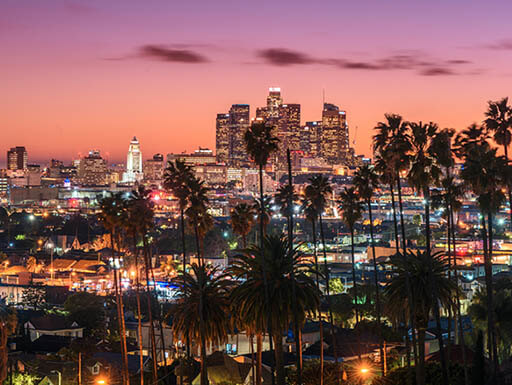 A pink and purple sunset behind downtown Los Angeles with palm trees silhouetted against the bright lights of the city