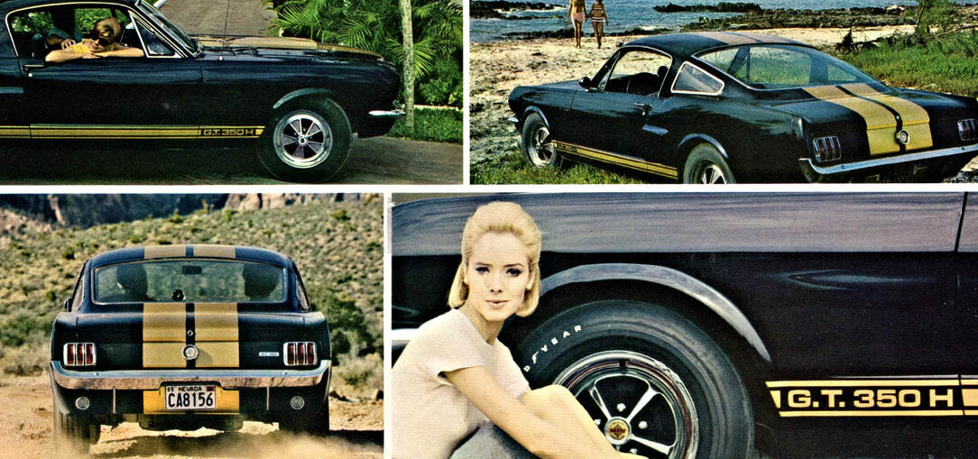 A brochure published by Hertz in 1966 features several images of the Shelby Mustang G.T. 350-H driving in California.