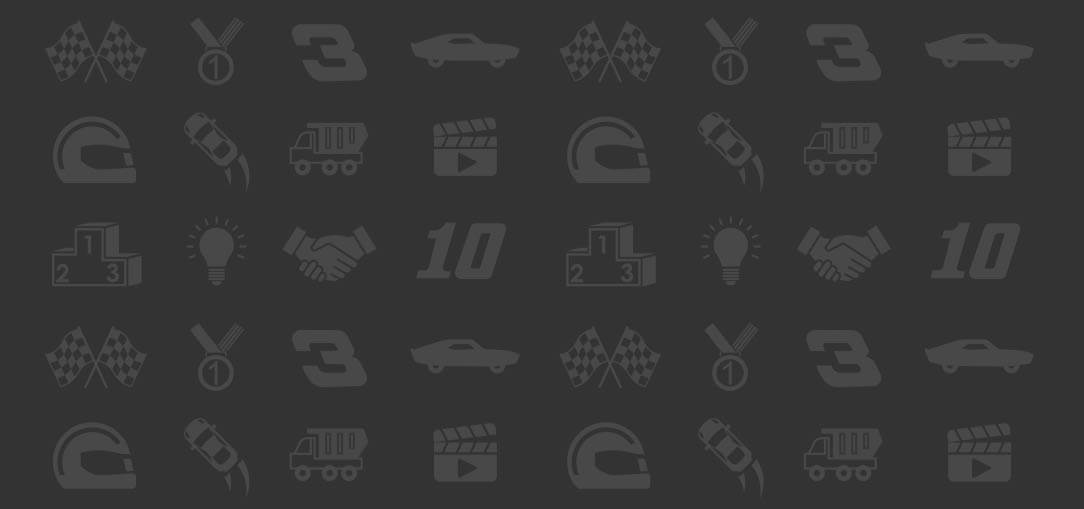 Graphic icons related to racecar driving, like an icon of a trophy, checkered flag, racecars at the finish line, etc. on a light gray background.