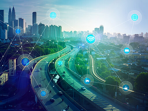 Wireless communications used in connected cars to navigate the internet of things