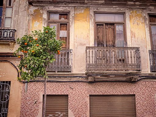An old house with orange trees growing on a balcony in the Cabanyal district of Valencia, Spain.