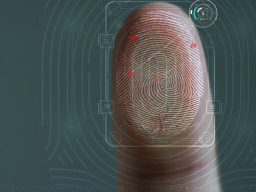 A finger is placed on a glass surface to confirm identity.