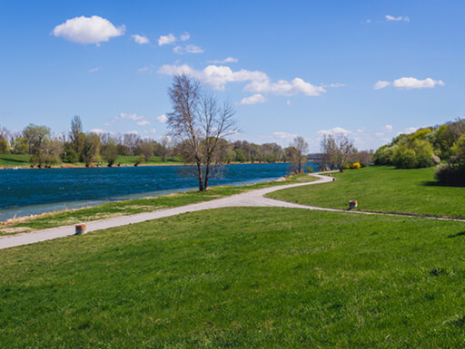 The greenery of Danube Park in Vienna, Austria, shows the Danube River flanked by bright green grass and lush trees on a clear, bright early Spring day.