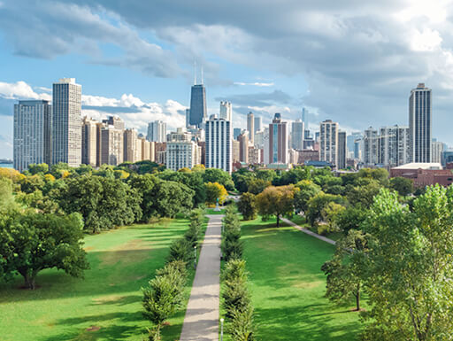 The Chicago skyline towers over Lincoln Park on a partly cloudy day with a view of a green park and foliage.