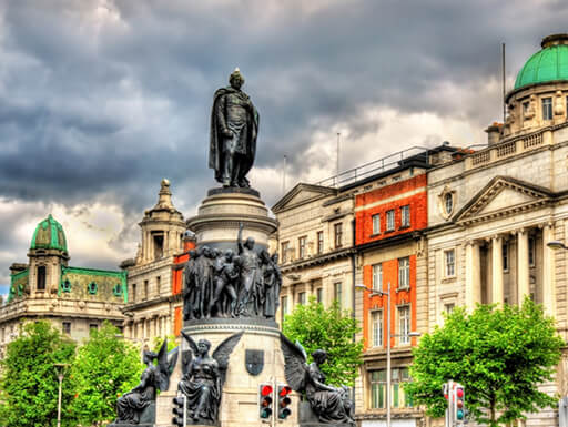 Monument of Daniel O'Connell is seen on a cloudy afternoon on O'Connell Street in Dublin, Ireland.
