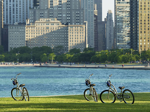 Three bikes on green grass with the buildings of downtown Chicago across the river on a sunny day.