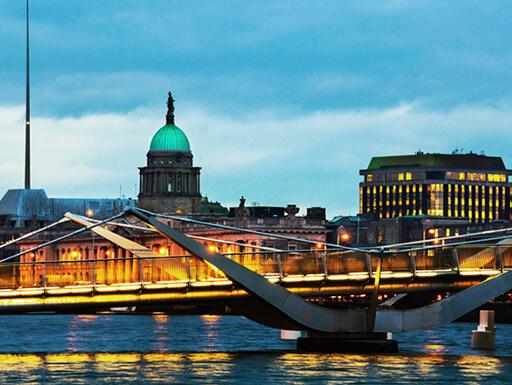 Illuminated Sean O'Casey Bridge and the Custom House