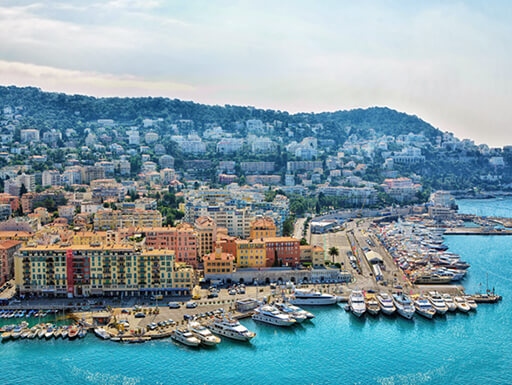 A panoramic view of Nice on the Cote d'Azur, France