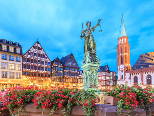 Romerberg Square and the Fountain of Justice in Frankfurt's Old Town
