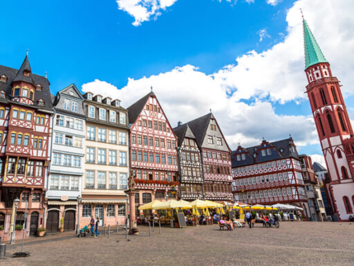 The Ostzeile half-timbered buildings in the Old Town of Frankfurt