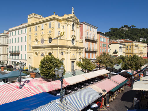 The Cours Saleya market square in Nice