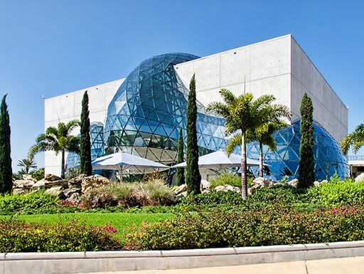 Exterior of the Dalí Museum in St. Petersburg, Florida on a sunny day