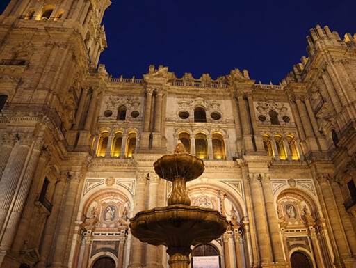 The ornately beautiful Malaga Cathedral with a fountain out front, illuminated at night in Spain.