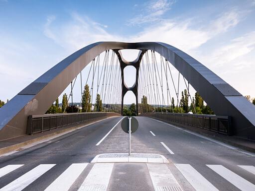 The Osthafen Bridge in Frankfurt, Germany