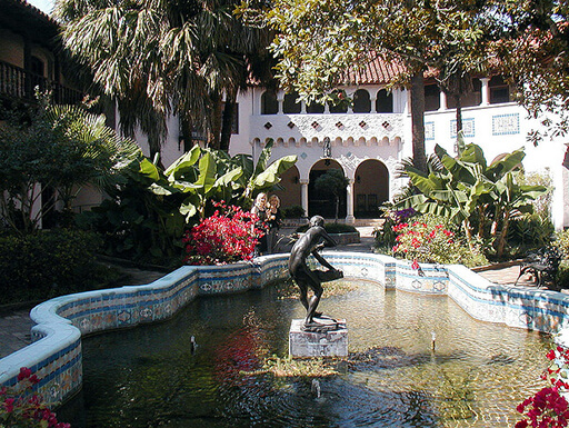 Exterior of fountain and front of McNay Art Museum in San Antonio, T
