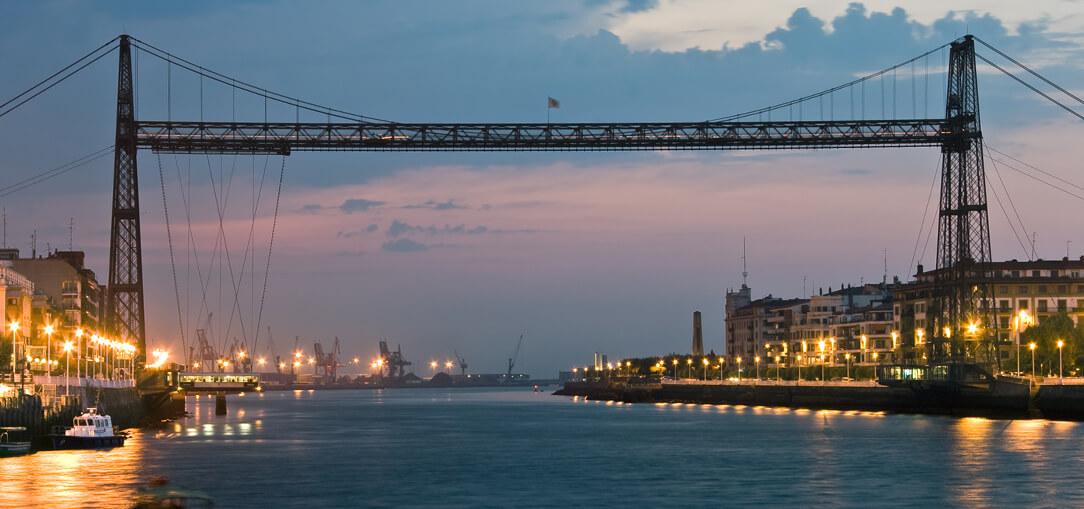 Puente de Vizcaya, the world's oldest transporter bridge a dusk.