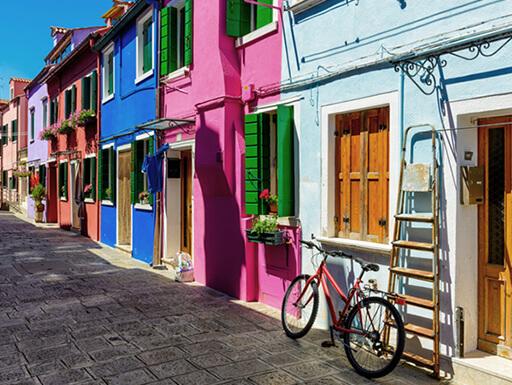 Colorful buildings on Venice's Burano island