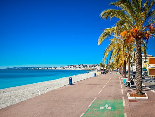 The Promenade des Anglais in Nice, France, on a sunny day