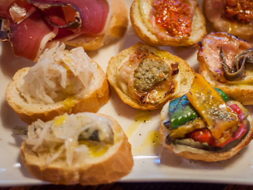 Venetian tapas, known as cicchetti, on a plate