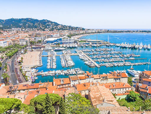 "=""A view of Cannes on the Cote d'Azur, France"