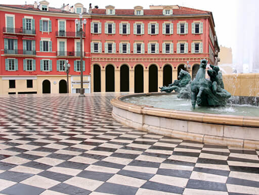 Massena Square with fountain in the New Town of Nice, France