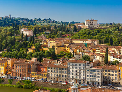 A view of Florence's Oltrarno district taken over the River Arno