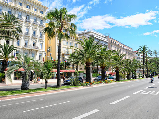 A picture of a typical street in Nice, France, with palm trees