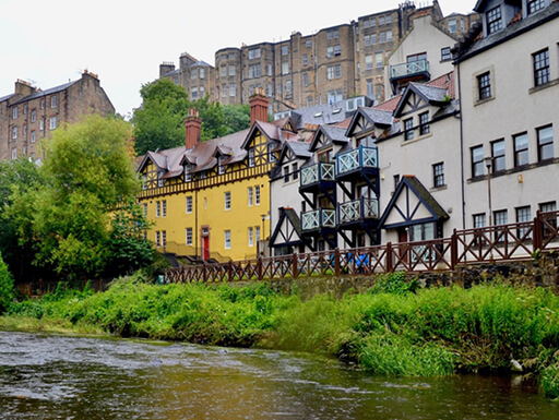 Dean Village, one of Edinburgh's historic suburbs and a major tourist attraction
