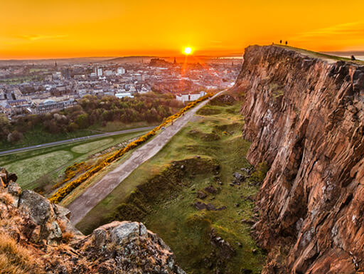 A view of Edinburgh from Arthur's Seat at sunset