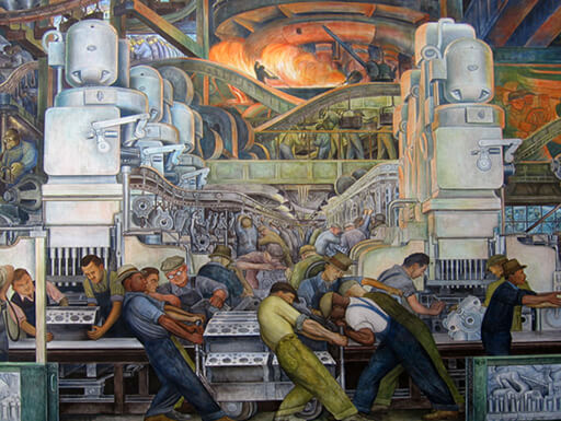 A close-up image of the Diego Rivera mural of an automotive assembly line at the Detroit Institute of Arts.