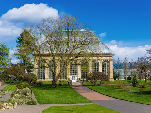 The glasshouse at the Royal Botanical Gardens in Edinburgh
