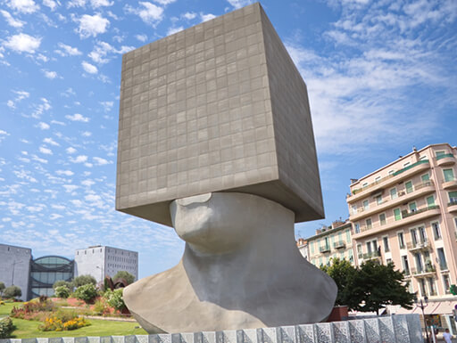 The Square Head sculpture at the Public Library in Nice