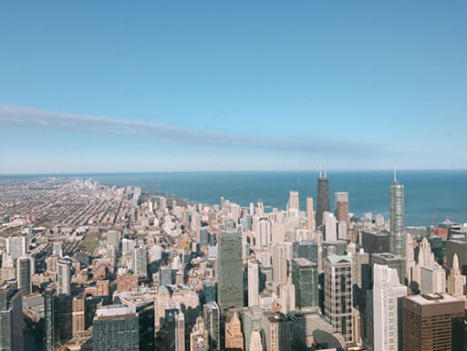 Overhead view of Chicago cityscape from Skydeck on a sunny day.