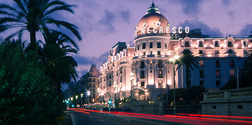The Hotel Negresco in Nice, France, at night