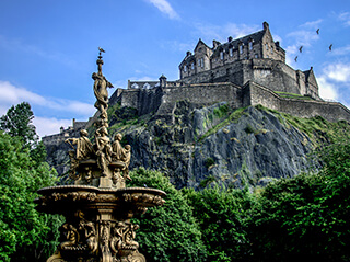 Edinburgh Castle dominates the skyline of the city
